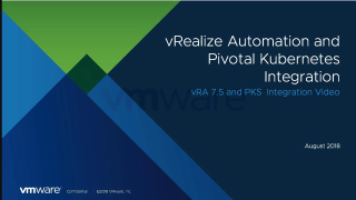 vRealize Automation and Pivotal Container…